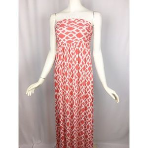 Hourglass Lilly Strapless Orange White Maxi Dress